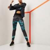 river island – RI Active green printed gym leggings. Sportswear   bold prints   oriental dragon print pants
