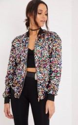 pretty little thing RIVA MULTI SEQUIN BOMBER JACKET. Multi-coloured sequined jackets | on-trend outerwear | embellished fashion