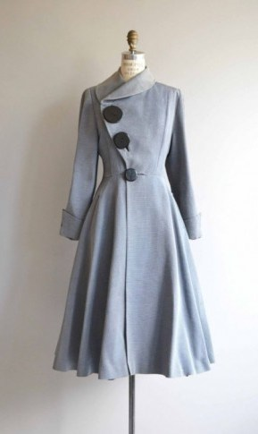 1950s powde-blue fit and flare coat with asymmetric neckline – vintage coats – 50s fashion – chic and stylish - flipped