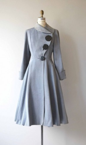 1950s powde-blue fit and flare coat with asymmetric neckline – vintage coats – 50s fashion – chic and stylish