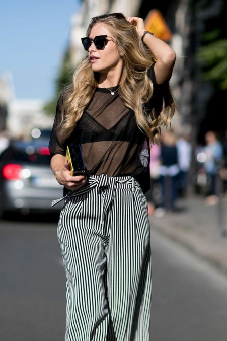 Street style chic…sheer black top and stripe wide leg trousers with waist tie. Outfits for warmer weather | stylish sprint outfit | fashion inspiration