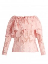 ROSIE ASSOULIN The Very Hungry Caterpillar floral top in powder-pink organza ~ luxe ruffled tops ~ feminine fashion