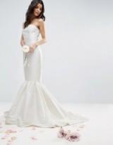 ASOS BRIDAL Trumpet Hem Maxi Dress – strapless wedding dresses – fishtail bridal gowns – cream bandeau gowns