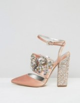 ASOS PAPAYA Bridal Embellished Heels – luxe style wedding shoes – jewelled chunky heels – bride accessories – footwear – ankle strap style