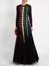 MARY KATRANTZOU Bayley floral-appliqué chiffon gown ~ textured gowns ~ floral guipure-lace appliqués ~ designer occasion wear ~ special event fashion ~ long semi sheer dresses