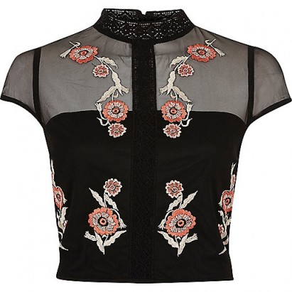 river island Black floral embroidered cap sleeve crop top. High neck tops   cropped fashion