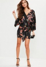 MISSGUIDED black silky printed kimono shift dress ~ going out fashion ~ party dresses ~ evening glamour ~ oriental style