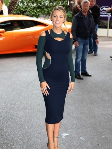 Blake Lively in a cut out bodycon dress at the 2016 Cannes Film Festival