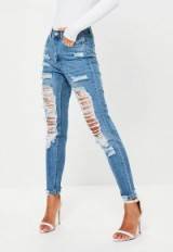 missguided blue riot high rise ripped mom jeans