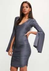Missguided blue slinky plunge kimono sleeve midi dress ~ ruched evening dresses ~ going out fashion ~ party style ~glamour