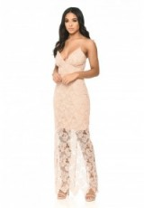 AX Paris BLUSH LACE MAXI DRESS – long pink party dresses – sheer floral overlay – strappy going out fashion