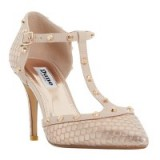 Dune Cliopatra Studded T-Bar Court Shoes, Rose Gold Reptile – gold stud courts – glam high heels – glamorous animal prints