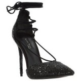 Dune Duchess Embellished Ghillie High Heel Court Shoes, Black – stiletto heel courts – glam evening heels – occasion footwear – glamorous ankle wraps