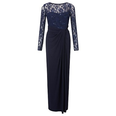 Lauren Ralph Lauren Long Sleeve Lace Maxi Dress, Lighthouse Navy – red carpet fashion – long blue special event dresses – designer evening gowns – sequined bodice – draped skirt