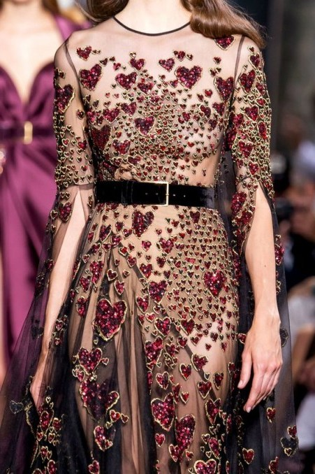 Jewelled red hearts on sheer Couture gowns - flipped