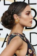 Olivia Culpo's chic statement braided bun at the 2017 Golden Globes. Star style hair | elegant hairstyles | red carpet beauty | celebrity make-up | jewellery | earrings