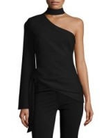 cinq a sept Briah One-Shoulder Tie-Side Top in black. Chic style tops   designer fashion   clothing with style   make a statement