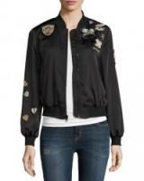 cinq a sept Mercer Embellished-Patch Bomber Jacket in black. Designer jackets | casual fashion