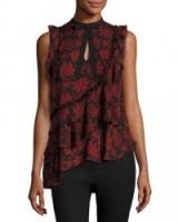 cinq a sept Zaire Silk Asymmetric Ruffle Top. Feminine ruffled tops   ruffles   asymmetric hem   tiered fashion