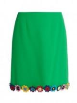 MARY KATRANTZOU Clovis guipure-lace wool-crepe mini skirt ~ floral applique hem line ~ designer skirts ~ apple-green