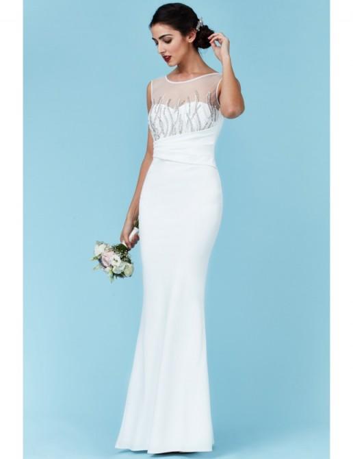 GODDIVA Embellished Maxi Wedding Dress White – affordable bridal gowns – sleeveless occasion dresses