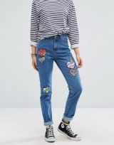 Glamorous Mom Jeans With Embroidered Heart Patches ~ hearts on blue denim jeans ~ casual fashion ~ my weekend style