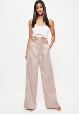 missguided gold paperbag waist satin wide leg trousers. Paper bag waisted pants | slinky silky style fashion | luxe look
