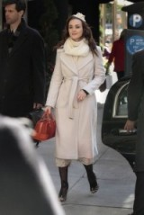 Blair dressed in chic Winter whites including a Diane von Furstenberg classic wrap style coat ~ gossip girl coats ~ outfits and fashion
