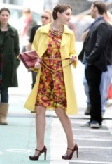 Blair Waldorf in spring colours…multi colour rose print dress, yellow coat and high heeled Mary Janes ~ gossip girl fashion ~ stylish outfits