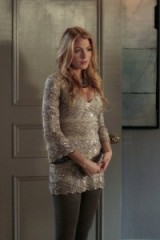 Serena shimmered in a Lorena Sarbu nude sequin embellished mini dress with taupe opaque tights ~ gossip girl dresses ~ outfits and fashion