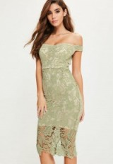 MISSGUIDED green lace bardot midi dress ~ off the shoulder party dresses ~ going out glamour ~ evening fashion ~ fitted style ~ feminine