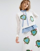 House Of Holland Heart Mesh Long Sleeve Top in white ~ tops with embroidered hearts ~ heart patches on fashion