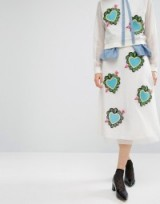House Of Holland Heart Mesh Midi Skirt ~ skirts with hearts ~ embroidered patches on fashion