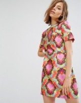 House Of Holland Heart Twill Fit And Flare Dress ~ printed shift dresses ~ hearts ~ designer fashion