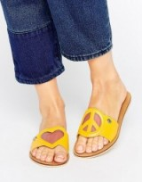 Love Moschino Yellow Heart Sandals ~ hearts on shoes ~ designer summer flats ~ flat sandal ~ love & peace