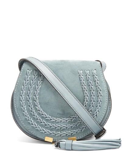 b63437eb07592 CHLOÉ Marcie small suede cross-body bag. light blue designer bags ...