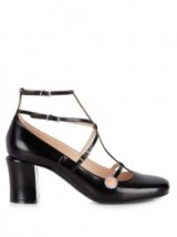 FENDI Mary-Jane black leather pumps ~ designer Mary Janes ~ block heel shoes ~ strappy footwear