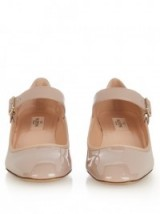 VALENTINO Mary-Jane nude pink patent leather pumps ~ glossy Mary Janes ~ block heel shoes ~ mid heeled pumps ~ designer footwear