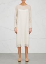 THE ROW Maver ivory silk chiffon midi dress. Classic elegance   elegant dresses   chic fashion   semi sheer