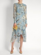 ERDEM Meg silk-voile dress ~ light blue floral dresses ~ feminine florals ~ designer fashion ~ luxury clothing