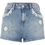 river island Mid blue wash distressed pearl denim shorts