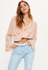 missguided nude chiffon ruffle wrap over crop blouse. Plunge front blouses | ruffled trim tops | plunging neckline