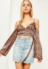 missguided nude leopard print wrap over cold shoulder blouse. Animal prints | cropped blouses | silky style tops