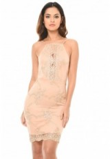 AX Paris PINK DRESS WITH GOLD EMBROIDERY – slip style party dresses – feminine occasion fashion – strappy