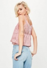 Missguided pink lace insert satin cami ~ strappy tops ~ slip fashion ~ feminine