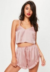 Missguided pink satin cami & shorts pyjama set ~ sleepware ~ pyjamas ~ camisole & short sleet sets