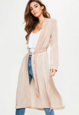 Missguided pink satin lace applique side kimono jacket ~ long lightweight jackets ~ duster coats