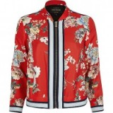 river island Red floral bomber jacket