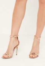 MISSGUIDED rose gold rounded strap barely there sandals ~ ankle strap high heels ~ stiletto heels ~ evening shoes ~ glamorous accessories ~ going out glamour