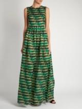 MARY KATRANTZOU Shaw striped cheetah-print organza dress ~ animal prints ~ long sleeveless dresses ~ luxe fashion ~ designer clothing ~ green printed fabric